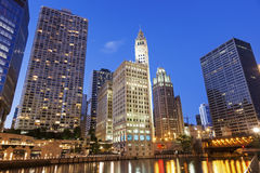 Chicago's famous riverwalk. In the evening royalty free stock images