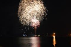 Chicago, S 1° gennaio 2017 Fuochi d'artificio al pilastro della marina a welcom Fotografia Stock Libera da Diritti