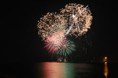 Chicago, S 1° gennaio 2017 Fuochi d'artificio al pilastro della marina a welcom Immagine Stock