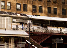 Chicago ` s hief het vervoerssysteem op van ` Gr ` - treden leidend aan treinplatform Royalty-vrije Stock Fotografie