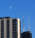 Chicago's John Hancock Tower with view of moon Royalty Free Stock Photo