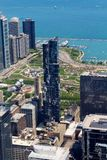 Chicago's view from the 103rd floorof Skydeck. The amazing view from the 103rd floor of the tallest building in the Western Hemisphere. At 1,353 feet in the air Stock Photos