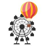 Chicago s wheel in amusement park. With hot air balloon isolated vector illustration graphic design vector illustration