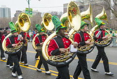 Chicago Saint Patrick parade. CHICAGO - MARCH 16 : Band marching at the annual Saint Patrick's Day Parade in Chicago on March 16 2013 Stock Photography