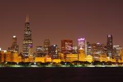 Chicago-Schleife angesehen vom Adler-Planetarium lizenzfreies stockbild