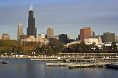 Chicago seen from marina royalty free stock photography