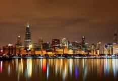 Chicago-Seeseite nachts II Lizenzfreies Stockbild