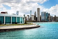 Chicago Shedd Aquarium with Lake Michigan and skyline Royalty Free Stock Image
