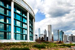 Chicago Shedd Aquarium with partial city skyline Royalty Free Stock Photo
