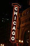 Chicago Sign. At night Royalty Free Stock Image