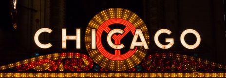 Chicago Sign Landscape. Bright lights advertise a popular place for shows and concerts in Chicago, Illinois royalty free stock image