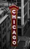 Chicago signet på Chicago teaterframdel royaltyfri fotografi