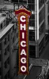 Chicago signet on Chicago Theater front. The Chicago Theater, originally known as the Balaban and Katz Chicago Theatre, is a landmark theater located on North Royalty Free Stock Photography