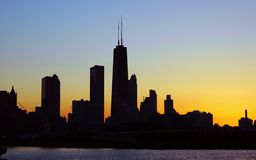 Chicago Silhouette. Part of the Chicago skyline in silhouette Stock Image