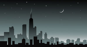 Chicago skiline at Night -. Chicago at Night is a  illustration Stock Photos