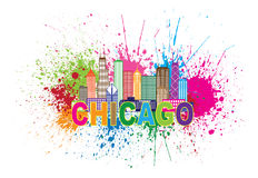 Chicago Sklyine Paint Splatter Abtract Illustration. Chicago City Skyline Panorama Outline Silhouette Paint Splatter Abstract Colorful Text  on White Background Stock Photography