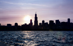 Chicago sky line on a sunset. Lake Michigan Stock Photos
