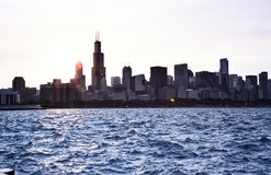 Chicago sky line on a sunset. Lake Michigan Stock Photography