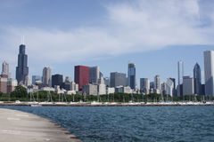 Chicago skyline. Viewed from the pier along Lake Michigan Stock Images