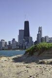 Chicago skyline. From Oak Street beach stock photography