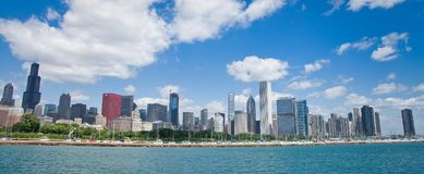 Chicago skyline. The skyline of Chicago as seen from Lake Michigan on a sunny summer day royalty free stock images