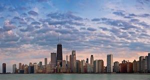 Chicago Skyline. Panoramic image of Chicago skyline taken before sunset stock photo