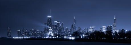 Chicago skyline. Panoramic image of Chicago skyline at night royalty free stock image