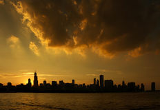 Chicago Skyline. Silhouette of Chicago, Illinois skyline at sunset stock photo