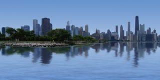 Chicago Skyline. Chicago city skyline viewed from Lake Michigan stock image