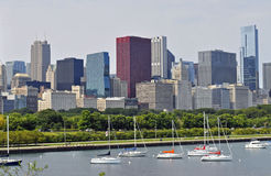 Chicago Skyline. The Chicago skyline from the Lake Michigan shoreline Royalty Free Stock Photo