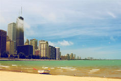 Chicago skyline. Panoramic with blue sky and lake Michigan Royalty Free Stock Image