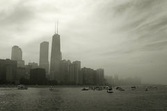 Chicago skyline. Panoramic with dramatic sky and lake Michigan Royalty Free Stock Photography