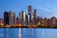 Chicago Skyline. Image of the Chicago downtown skyline at dusk royalty free stock photo
