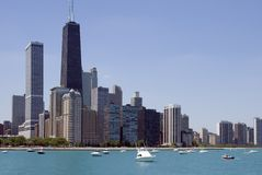 Chicago Skyline. The Chicago skyline seen from Lake Michigan stock photos