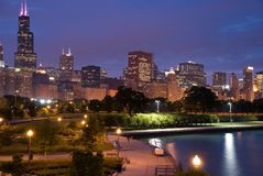 Chicago skyline. Night photo of city and park from south side of Lake Shore Drive, Chicago stock photo