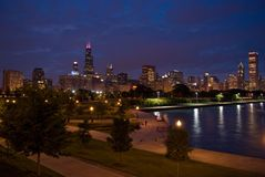 Chicago skyline. Night photo of city and park from south side of Lake Shore Drive, Chicago stock photography