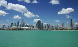 Chicago skyline. Under a beautiful daytime sky Royalty Free Stock Photos