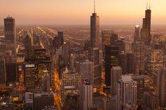 Chicago skyline. Skyline of Chicago at sunset Stock Image