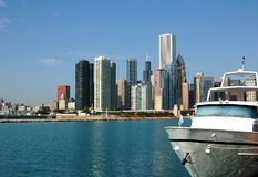 Chicago Skyline. A view of the Chicago skyline as seen from the Navy Pier Royalty Free Stock Photo