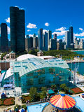 Chicago Skyline. From Navy Pier Royalty Free Stock Images