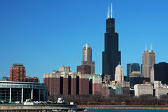 Chicago Skyline. On a clear spring day with Sears tower in scene Royalty Free Stock Image