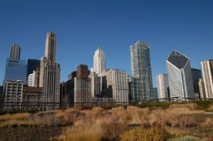 Chicago Skyline. Dowtown Chicago skyline in late autumn looking west across millenium park toward Michigan Avenue & the miracle mile stock photography