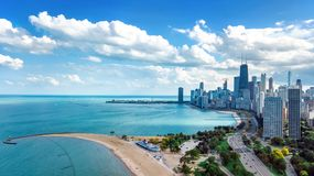 Chicago skyline aerial drone view from above, city of Chicago downtown skyscrapers and lake Michigan cityscape, Illinois, USA royalty free stock photos