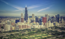 Chicago skyline aerial panorama Royalty Free Stock Photography
