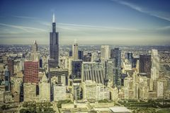 Chicago skyline aerial panorama Royalty Free Stock Images