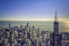 Chicago skyline aerial panorama Stock Photography