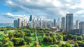 Chicago skyline aerial view from above, lake Michigan and city of Chicago downtown skyscrapers cityscape from Lincoln park, stock photo