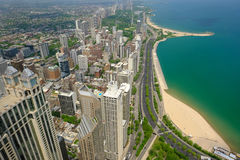 Chicago skyline aerial view. No brand names or copyright objects stock photo