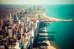 Chicago Skyline Aerial View Royalty Free Stock Photo