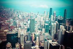 Chicago Skyline Aerial View Stock Images